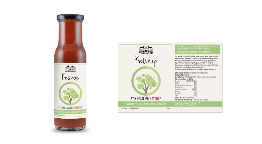 Vibegaard_Ketchup, produkter, emballagedesign, balnd selv saaft, drikkeklar saft, stikkelsbær, ribs, solbær, vibegaard