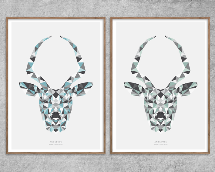 Plakat_Antilope_Antelope-green_grøn_blue_blaa_Red-Zone