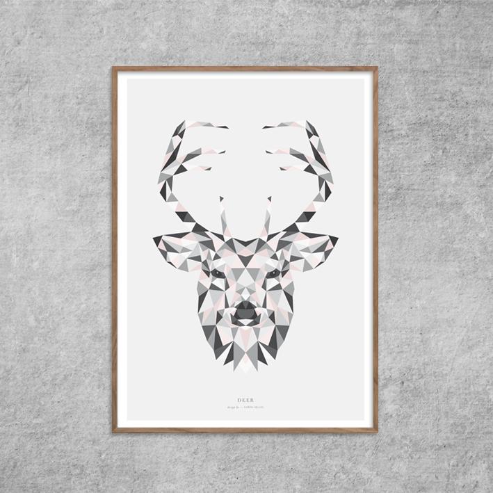Plakat_Kronhjort_Deer-Grafisk-Rosa-Nude-Red-Zone