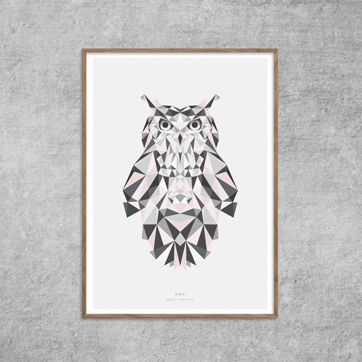 Plakat_Ugle_Owl-Rosa-Nude-Grafisk-Poster-Design-Red-Zone