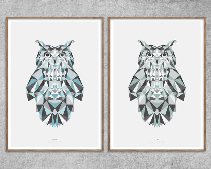 Plakat_Ugle_Owl-blue-blaa-green-grøn-Grafisk-Poster-Design-Red-Zone
