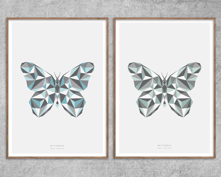 Plakat_butterfly_sommerfugl-Blue-blaa-green_grøn_grafisk-poster_Red-Zone