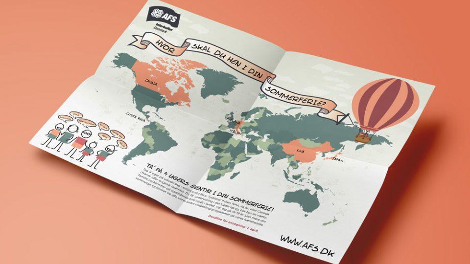 AFS_interkultur_danmark, design A2 plakater, flyer, illustrationer